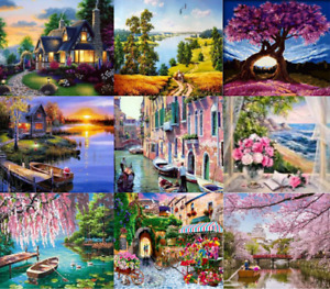 Oil Painting By Numbers Kit Craft DIY Paint On Canvas Frameless Scenery Adult UK
