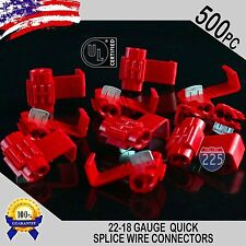 500 Pack 22-18 Gauge Red Quick Splice Tap Wire Connectors Install Terminals UL
