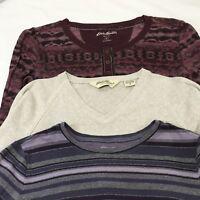 Eddie Bauer Tops Lot of 3 THREE Sz Medium Waffle Thermal Jersey Knit Print