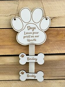 Personalised Dogs Leave Paw Prints on Our Hearts Wall Hanging Dog, Puppy Gift