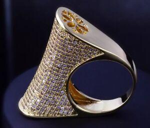 18k Gold Large Ring made w Swarovski Crystal Pave Stone Gorgeous Index Ring