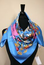 New Authentic Salvatore Ferragamo Sky Blue Flora Silk Scarf