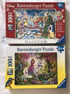 Ravensburger 100 Piece Jigsaw Puzzle Bundle. Disney Princess Glitter And Fairy