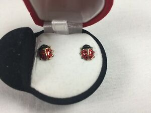 NEW Ladybug Post Earrings in Lady Bug Shaped Gift Box