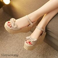 Sweet Womens Platform Peep toe Ankle Strap High Wedge Heel Cut out Shoes Sandals