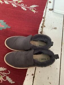 Toms ankle boots grey  4 fur trim BN