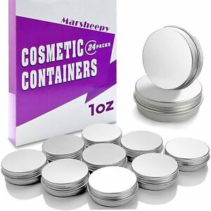 30 ml(1 oz) Silver Aluminum Round Lip Balm Tin Storage Jar Containers with Sc...