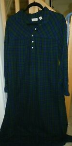 LL Bean Nightgown Green Flannel Tartan Plaid Full Length Feminine MINT LARGE