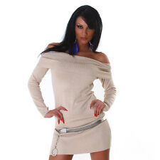 Sexy Kleid Carmen Minikleid Longpullover Pullover schulterfrei Beige 34 36 38