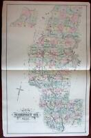 Somerset County Maine Moosehead Lake 1888 Colby large detailed map