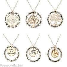 1PC Unisex Rose Gold Lettering Words Round Pendant Necklace Jewelry Gift 45cm