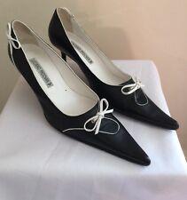 SUPERBE FEMME LUCIANO PADOVAN NOIR et BLANC Chaton Talon Chaussure 37.5 UK 5.5