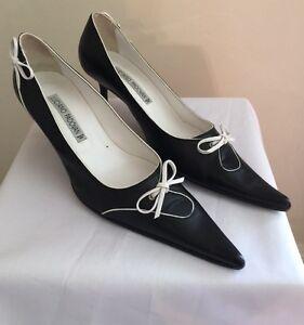 Stunning Ladies Luciano Padovan Black & White Kitten Heel Shoe 37.5 Uk 5.5