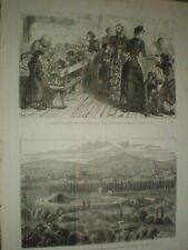 Irish Stew dinner for poor Limehouse & view of Lima Peru 1881 prints ref AT
