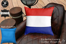 """NETHERLAND FLAG COLOUR LEATHER 1X EXCLUSIVE LUXURY CUSHION 18""""x18"""" L BLUE BACK"""