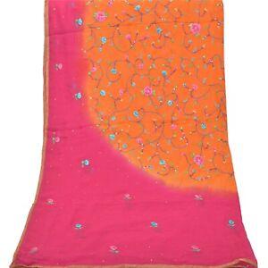 Sanskriti Vintage Dupatta Long Stole Georgette Orange Veil Hand Beaded Scarves