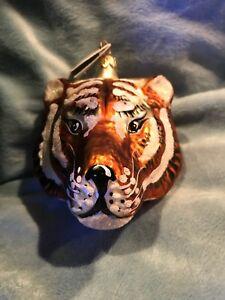 Slavic Treasures Hand Blown Glass Ornament Tiger Head Mini Original Tag W/Box