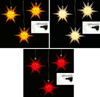 LED 3er Set 3 kleine Sterne innen & außen Außenstern Auswahl f. 230V o. Batterie