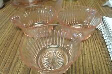 VINTAGE PINK QUEEN MARY DEPRESSION GLASS LOT 3 CUPS