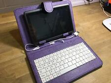 "PURPLE/WHITE Keyboard PU Leather Case Stand for 7""ViewSonic ViewPad 7e Tablet PC"