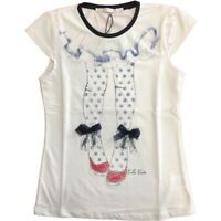 T-Shirt in Cotone Bianco con Stampa Bambina Take Two M03143