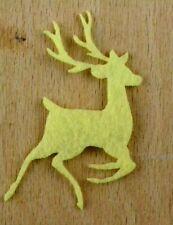Filz-Applikation zum Aufbügeln Bügelbild  4-163  Hirsch Springed  Schwefelgelb