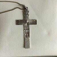Vintage Sterling Silver Cross Pendant Diamond Cut Sunburst Necklace Hallmark 70s