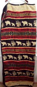Earth Ragz Wildlife Wearable Blanket Poncho Bear Cabin Lodge Native Zip 56×64