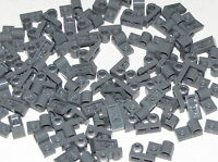 Lego Lot of 100 New Dark Bluish Gray Plates Modified 1 x 2 with Pin Hole on Top