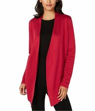 Eileen Fisher Womens Angle-Front Cardigan Sweater, Red, Medium