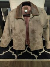 PENDLETON ORIGINALS Shearling Blanket Wool Coat Leaf Print Size M Leather Collar