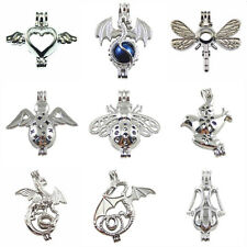 9pcs Mixed Bird Dragonfly Locket Pearl Cage Pendant for Necklace Jewelry Making