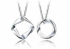 2 Pendants Sterling Silver Pendants Circle rectangle gift Couple anniversary-#97