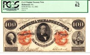 $100 1862 VIRGINIA TREASURY NOTE- PCGS 62 NEW - *VERY RARE GRADE NOTE*