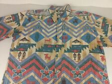 Reyn Spooner Shirt Size Large Navajo  Southwest Southern Cowboy reverse print