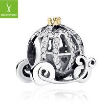 European Women 925Sterling Silver Fairy tale pumpkin car Charm Bead Fit Bracelet