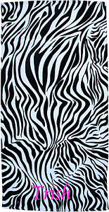 Personalized Embroidered Black and White Zebra Beach Towel 30x60 100% Cotton