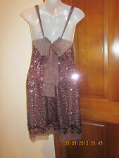 REBECCA TAYLOR PAYETTE SEQUIN on SILK ROLLING STONE  COCKTAIL PURPLE DRESS  SZ 2