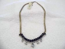 Fossil Gold/Black /Silver Stone Chain Necklace