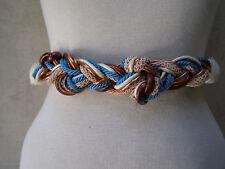 Sassy! Vtge Cream Turquoise Copper Cinch Wrap Belt