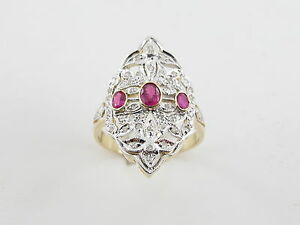 14k Yellow And White Gold Diamond And Ruby Ring