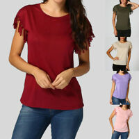 Fashion Women Ladies Summer Loose Top Short Sleeve Blouse Casual Tops T-Shirt AU
