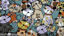 17,80 EUR/Lfm Katzen Canvas  Baumwollstoff Kissenbezug Deko Leinenoptik