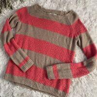 LAUREN CONRAD WOMENS Pink Beige Striped Sparkly Pullover Sweater Size Medium