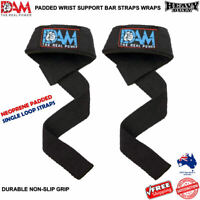 DAM WEIGHT LIFTING GYM TRAINING WRIST SUPPORT BAR STRAPS SINGLE LOOP COTTON NEW