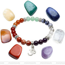 7 Chakra Colorful Irregular Stone Bead Stretch Bracelet With Box Set OM Sanskrit