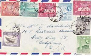 ADEN SG#50,#52,#54(x2)#58,#61,#48,#63-ADEN G.P.O. 23/MR/55-AIR MAIL to USA