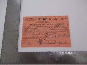 Vintage 1942 Illinois Resident Hook & Line Fishing License John R Anderson S2597