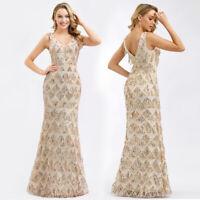 Ever-Pretty Sequins Long Evening Dress Tassel V-neck Cocktail Bridesmaid Dress