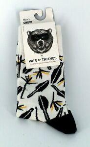 Pair of Thieves Men's Novelty Crew Socks Size 8-12 Black White Yellow, One Pair